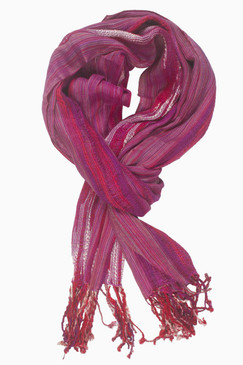 In-Sattva Colors - Woven Patterned Multi Color Vertical Stripes Scarf Stole ‰ÛÒ Fuschia