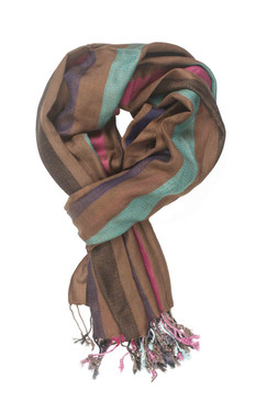 In-Sattva Colors - Vertical Stripe Multi Color Scarf Stole ‰ÛÒ Brown