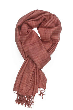In-Sattva Colors - Checkered Print Scarf Stole ‰ÛÒ Terra Cotta
