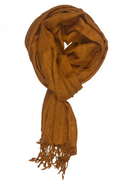 In-Sattva Colors - Decorative Vertical Stripe Embellished Scarf Stole ‰ÛÒ Ginger