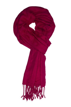 In-Sattva Colors - Woven Square Printed Solid Colored Scarf Stole ‰ÛÒ Fuschia