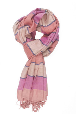 In-Sattva Colors - Horizontal Striped Multi Color Scarf Stole ‰ÛÒ Peach