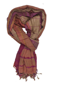 In-Sattva Colors - Stripes & Squares Multi Colored Scarf Stole ‰ÛÒ Mango
