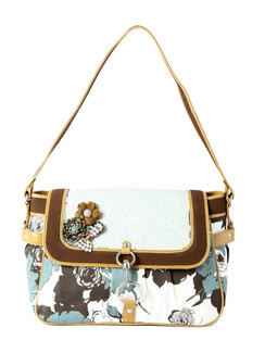 Ivory Tag Leather & Fabric Floral Twirl Handbag ‰ÛÒ Front