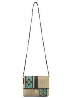 Ivory Tag Love Across Leather & Fabric Crossbody Bag ‰ÛÒ Front