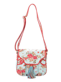 Ivory Tag Chintzy Turq Red Suede Crossbody Bag ‰ÛÒ Front