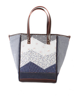 Ivory Tag Patched Up Blue Leather & Fabric Tote ‰ÛÒ Front