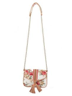 Ivory Tag Tasselled Rose Leather & Floral Canvas Crossbody Handbag ‰ÛÒ Front