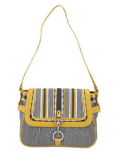 Ivory Tag Striped Patch Leather & Canvas Handbag ‰ÛÒ Front