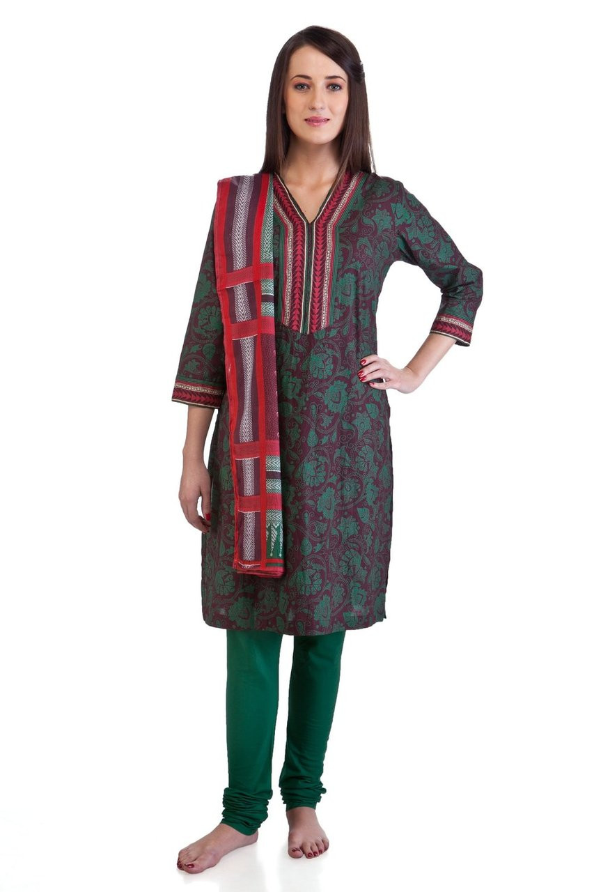 Mb Women S Indian Clothing Kurta Tunic Ethnic Suit With Green Floral