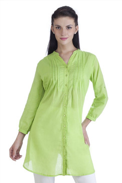 MB Womens Ethnic Pintuck Kurta Tunic ‰ÛÒ Green