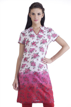 MB Womens Ethnic Rose Printed Gradation Kurta Tunic ‰ÛÒ Pink