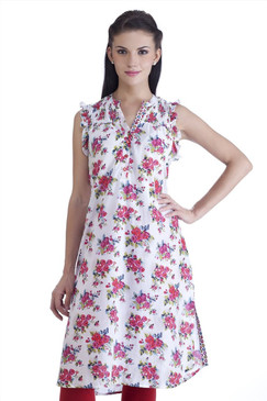 MB Womens Ethnic Rose Printed Kurta Tunic
