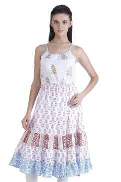 MB Womens Ethnic Block Printed Dress