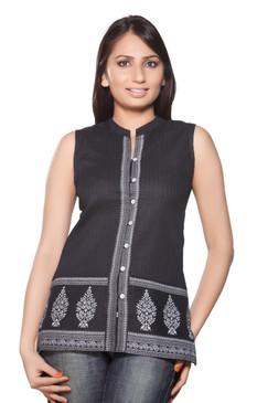 Akkriti Women's Kurta Tunic-  Front Button & Printed Border ÌÎÌ_Ì´åÇÌÎÌ__ÌÎÌ_ÌÎ_ÌÎÌ_Ì´åÌÎÌ_ÌÎ_ÌÎÌ_Ì´å« Front