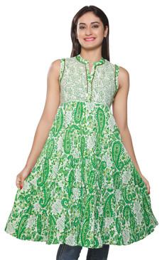 Rangmanch Women's Kurta Tunic - Green Crushed Flare ÌÎÌ_Ì´åÇÌÎÌ__ÌÎÌ_ÌÎ_ÌÎÌ_Ì´åÌÎÌ_ÌÎ_ÌÎÌ_Ì´å« Front