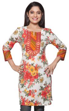 Rangmanch Women's Kurta Tunic - Floral Print & Pintucked ÌÎÌ_Ì´åÇÌÎÌ__ÌÎÌ_ÌÎ_ÌÎÌ_Ì´åÌÎÌ_ÌÎ_ÌÎÌ_Ì´å« Front
