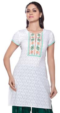 Rangmanch Women's Kurta Tunic- Embroidered Neck Yoke ÌÎå«ÌÎ_ÌÎÌ_ÌÎåÌÎÌ_ÌÎå´ White Front