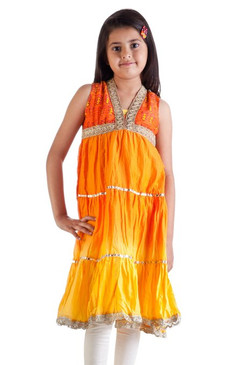 MB Girl's Indian Kurta Tunic with Orange to Yellow Tie Dye Gradient, Churidar (Pants) and Dupatta (Scarf) ‰ÛÒ Front