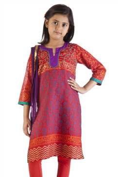 MB Girl's Indian Orange and Blue Print Kurta Tunic with Churidar (Pants) and Dupatta (Scarf) ‰ÛÒ Front