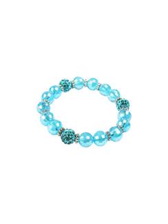 Ivory Tag Faceted Ocean Blue Beaded Bracelet