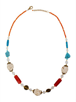 Ivory Tag Cracked White Stone and Beaded Necklace