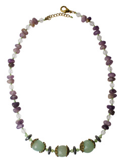 Ivory Tag Purple and Green Stone Necklace