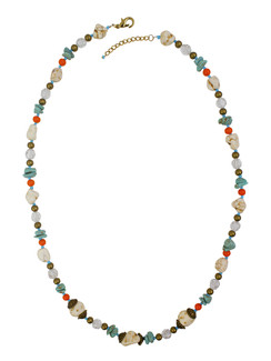 Ivory Tag Turquoise and White Cracked Stone Beaded Necklace