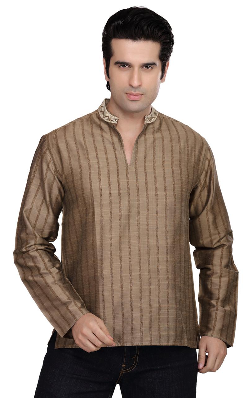 9e84fe88610 Shatranj Men's Kurta Tunic Banded Collar Vertical Stripe Shirt - In-Sattva