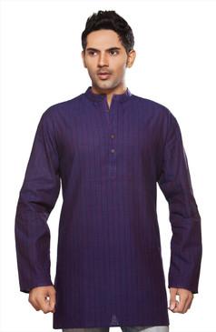 Shatranj Men's Kurta Tunic Banded Collar Thin Stripe Purple Shirt