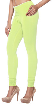 Women's Indian Solid Lime Green Churidar Leggings