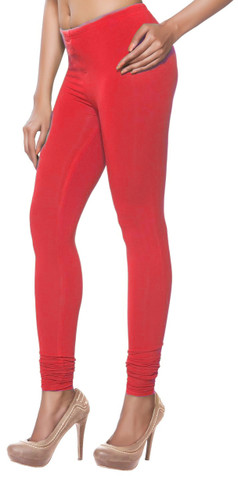 Women's Indian Solid Red Churidar Leggings