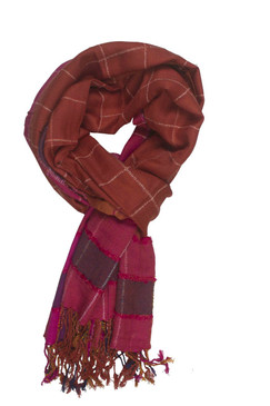 In-Sattva Colors - Stripes and Squares Multi Colored Scarf Stole - Rust