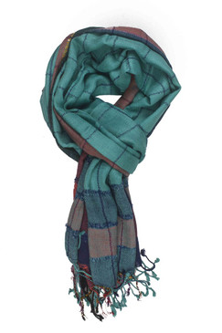 In-Sattva Colors - Stripes and Squares Multi Colored Scarf Stole - Teal