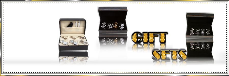 cuff-links gift sets 4-pack 6-pack shown with presentation gift box