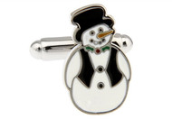 Cartoon Snowman cufflinks close up image