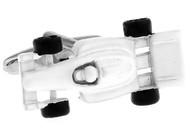 white formula 1 Indy race car cuff-links close up image