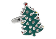 Green Christmas Tree cufflinks with crystal accents close up image