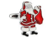 Santa Claus holding his red bag cufflinks with enamel finish close up image