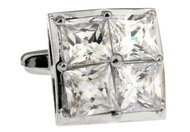 infinity edge square crystal cufflinks 4 in 1 setting close up image