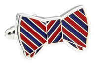 blue and red bowtie cufflinks close up image