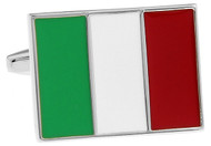 Flag of Italy Cufflinks, Italian Flag Cuff links close up image