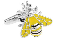 Queen Bee Cufflinks; Yellow Jacket Bumble Bee Cufflinks close up image