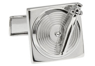 Silver record player turntable cufflinks close up image