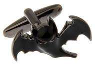 Batman style black bat cufflinks close up image