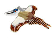 colorful flying duck cufflinks close up image