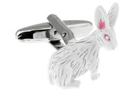 White Rabbit Easter bunny cufflinks; Albino bunny rabbit cuff-link close up image ©mrcuff™