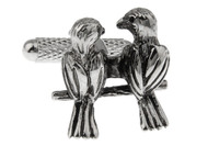 Two Love Birds sitting on a branch Cuff-links in silver detailed image close up