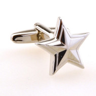 Silver Star Cufflinks double star design close up image