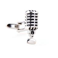 Old School Vintage Microphone Cufflinks close up image